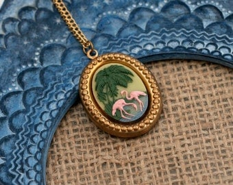 Flamingo Necklace, Pink Bird Cameo, Desert Island Pendant