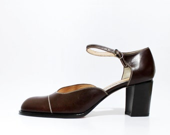 1990's Anne Klein ll Chestnut Brown Mary Janes Platforms