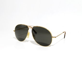1980's Randolph Engineering Gold Filled Cross Bridge Aviator Sunglasses