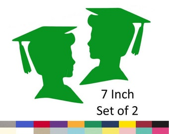 Graduation Boy Centerpiece Picks Party DIY Decorations Party Supply Die Cuts 7 inch Set of 2 Pick Your School Colors Choose From 20 Colors