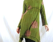Custom Dress Wearable Art Dress Hand Printed Swirly Colorful Organic Dress V-Neck One of a Kind Avant Garde MissKarret Organic Cotton Dress