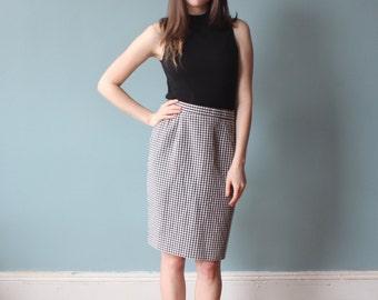 gingham pencil skirt   black and white 90s skirt   medium