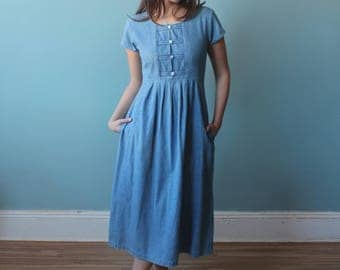 denim midi dress   cotton denim summer dress   1990s   small