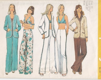 Vintage Pattern Simplicity 5573 Misses' Unlined Cardigan, Bra and Hip-Hugger Pants 70s Size 10 B32-1/2