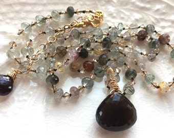 MADE TO ORDER-Smoky Quartz hand knotted silk necklace Earthy Gemstone Necklace Bouo Chic Woodland Necklace