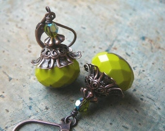 Antique Style Earrings with Chartreuse Czech Glass, Crystal and Antiqued Copper