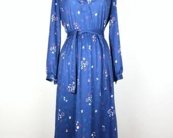Vintage Blue Floral Print Dress Belt Misses 8 S M