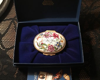 Vintage HALCYON DAYS 'For You' Enamel Hinged Trinket/Pill Box C.1950 in Original Box