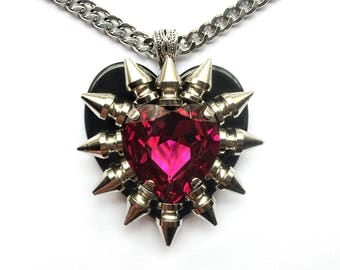 Swarovski Crystal Spiked Pink Heart Necklace // Spike Necklace // Spike Jewelry // Crystal Necklace // Gothic Jewelry // Heart Pendant