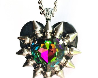 Vitrail Swarovski Crystal Spiked Heart Necklace // Spike Necklace // Spike Jewelry // Crystal Necklace // Rainbow Necklace // Heart Pendant