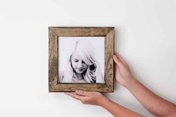 Rustic 8x8 distressed pine frame with glass . hand made . hand milled . hand finished . picture frame
