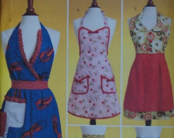 Butterick 5474 Sewing Pattern, Full and Half Aprons, Size Small-Medium-Large, Uncut FF, Vintage Style, Hostess Apron Pattern