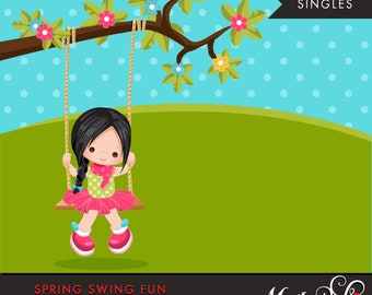 Spring Clipart. Brunette girl playing, swing, spring trees, graphics, outdoor, easter, card making, scrapbooking, commercial use