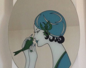 FOUND IN SPAIN -- Gorgeous mirror - screen printed woman with parakeet