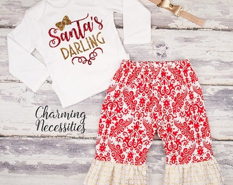 Baby Girl Christmas Outfit, Toddler Girl Clothes, Top and Ruffle Pants Set, Holiday Santas Darling, red gold glitter by Charming Necessities