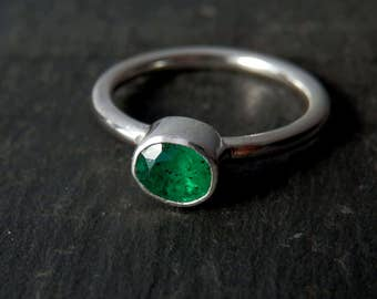 Natural emerald ring / May birthstone / emerald engagement ring / faceted emerald ring / untreated emerald / emerald jewelry / green ring
