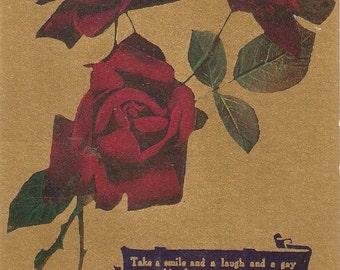 Red roses vintage postcard, gold background, lovely verse, antique roses postcard