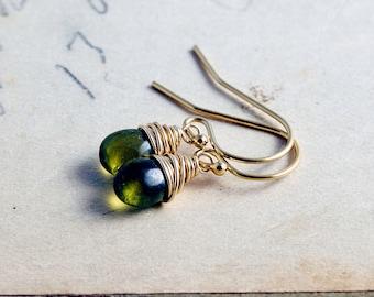 Drop Earrings, Dangle Earrings, Vesuvianite Earrings, Green Gemstone, Gold Earrings, Wire Wrapped, Green and Gold, Forest Green, PoleStar