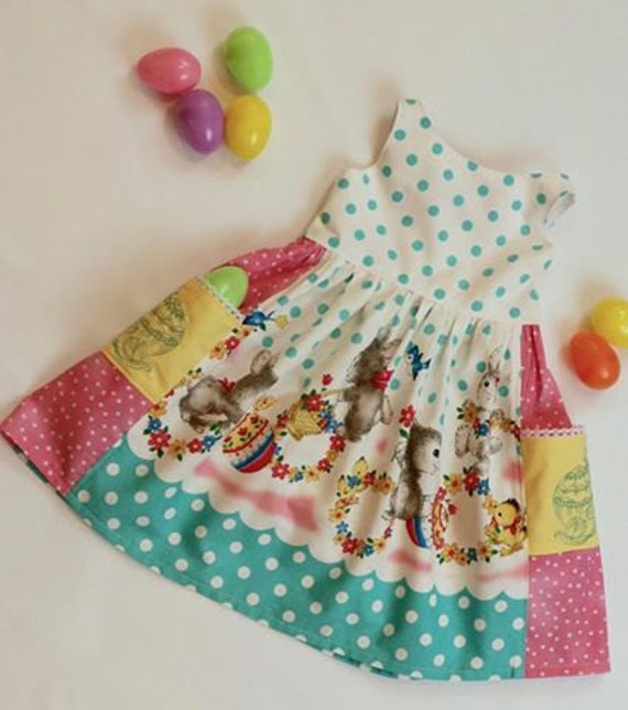 Girls Bunny Dress with Embroidered Pockets - Bunny Rabbit Dress - Easter Bunny Dress - Easter Dress - Polka Dot Dress