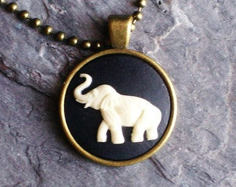 Elephant necklace, cameo necklace, animal necklace, elephant pendant, antique brass necklace, elephant jewelry, unique holiday gift ideas