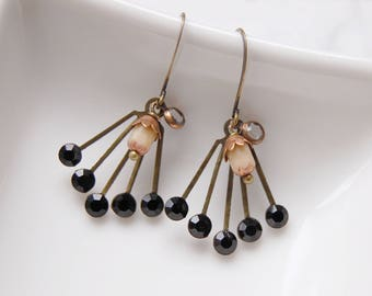 Jet black Sprinkle Art Deco earrings