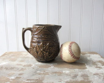 Vintage McCoy Pottery Waterlily  lotus pitcher milk cream syrup brown glaze