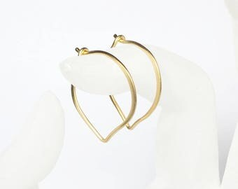 Large Gold Hoops, 24K Gold Heavily Plated Sterling Silver Earrings, Medium or Large