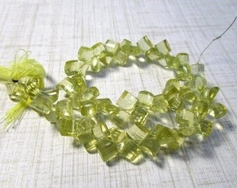 Rose Cut Lemon Quartz Briolette Beads, Square Cushion Natural Gemstone , 9 1/2 Inches