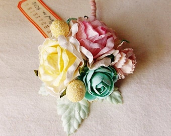 Shell Pink Aqua Butter Cream Roses Mixed bunch Vintage style Millinery Flower spray Bouquet floral corsage