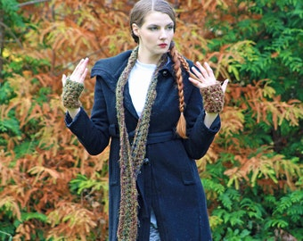 Brown Scarf and Fingerless Texting Gloves Set Long Soft Accesory  Gift for Girls, Teens or Women or Men
