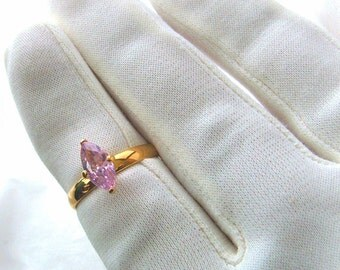 Pink CZ Ring marquise solitaire gold plated, marked 0 Korea, 8 1/4 vintage cubic zirconia jewelry for women