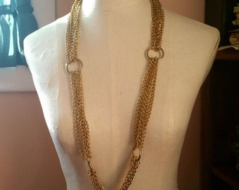Multi Chain Necklace 1970s, long 6 heavy chains on rings, Mod chic vintage costume jewelry