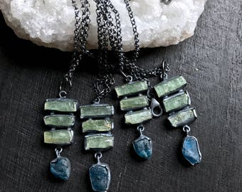 Green kyanite necklace   Rough apatite necklace   kyanite crystal necklace   Rough stone necklace   blue apatite stone necklace