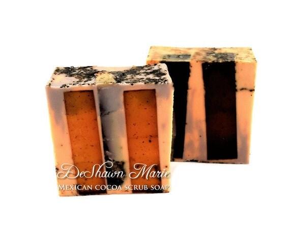 SALE SOAP- Mexican Cocoa Coffee Scrub Soap - Coffee Soap - Chocolate Soap -Vegan Soap - Handmade Soap- Soap Gift - Soap Favors - Valentine's