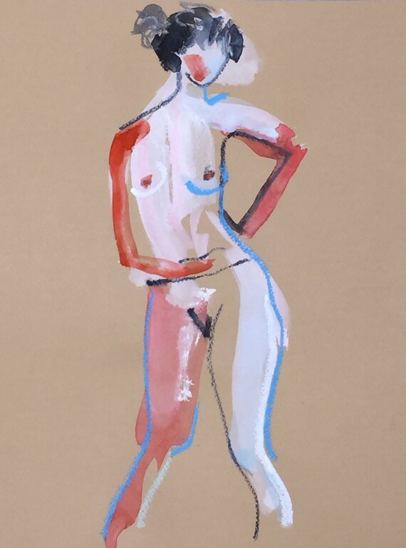 Nude painting- One Minute Pose 98.10 -painted sketch by Gretchen Kelly