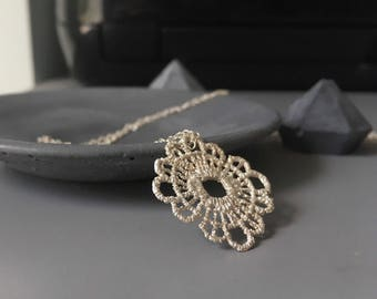 Lace necklace -Sterling silver Statement pendant-Filigree Necklace-Mandala Pendant-Long Boho Chic necklace