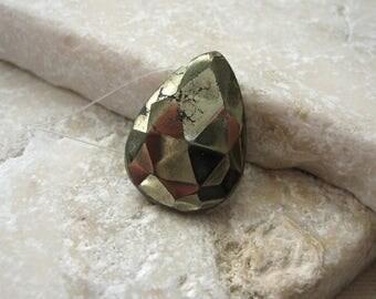 Faceted Pyrite Focal Teardrop Bead 18.25 x 13.5mm - Gemstone Focal Pendant