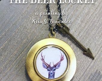 Deer Locket - antler necklace pendant, woodland jewelry with stag buck deer necklace