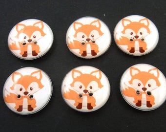 """6 Handmade Red fox Buttons.  3/4"""" or 20 mm Woodland Animal Sewing Buttons. Novelty Buttons.  Scrap Book Buttons."""
