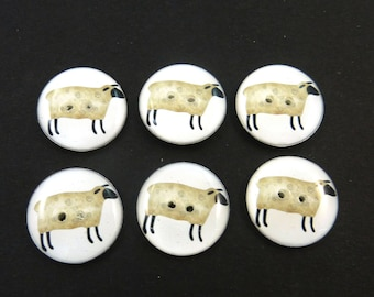 "6 Primitive Sheep Buttons.   3/4"" or 20 mm Round Sewing or Novelty Buttons."