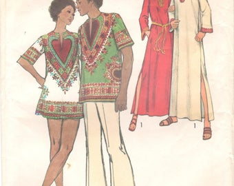 Simplicity 5043 1970s MENS Caftan Dashiki Shirt Pattern Adult Vintage Sewing Pattern Size Small  Chest 34 36