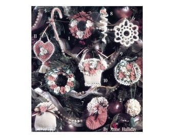 Vintage Victorian Thread Crochet Pattern Christmas Tree Ornaments Stocking Heart Wreath Basket Flower Ball Holiday Decor Pattern Book