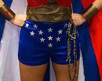Wonder Woman Shorts only... Quality Woven Stretch Satin...