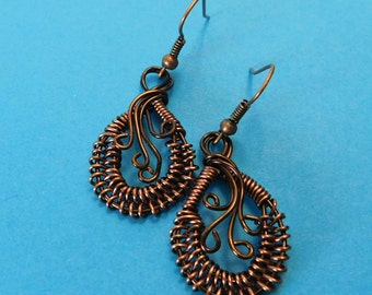 Unique Jewelry for Girlfriend Gift, Woven Copper Wire Earrings, Small Hand Woven and Sculpted Antique Copper Earrings