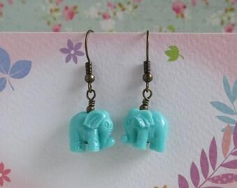 Elephant Earrings, Turquoise Blue Elephant, Antiqued Brass Wire Wrapped, Teal Blue Elephant, Dangle Earrings
