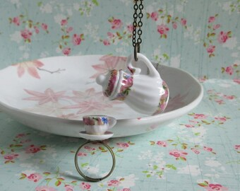 Pink Wreath Teapot Tea Cup Set, Miniature Teapot Pendant, Miniature Tea Cup Ring, Brass Chain, Ceramic Jewelry Gift Set