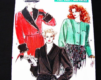 Vogue Jacket Pattern Misses size 12 14 16 UNCUT Womens Cropped Jacket with Faux Fur Cuffs and Collar Sewing Pattern