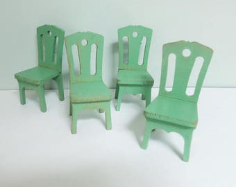 Four 1930s Strombecker Dollhouse Chairs, Wood with Jadeite Green Paint... Super Cute!