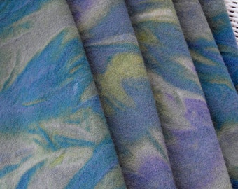 Blue Garden Marbleized Wool 1/4 yard//green teal blue felted wool for rug hooking, sewing, and quilting//100% wool dyed by Karen Kahle