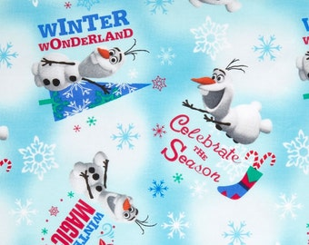 Frozen Olaf Snowman Disney Cotton Woven by the yard